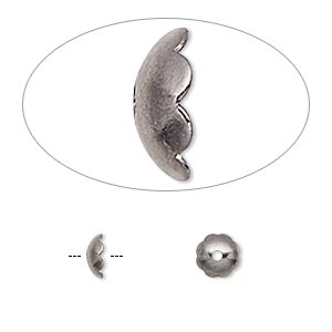 Bead Cap, Gunmetal-plated Brass, 6x2mm Scalloped Round, Fits 6-8mm Bead. Sold Per Pkg 500