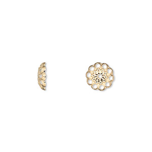 Bead Cap, Gold-plated Brass, 8x2mm Fancy Round Cutouts, Fits 8-10mm Bead. Sold Per Pkg 100