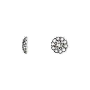 Bead Cap, Antique Silver-plated Brass, 8x2mm Fancy Round Cutouts, Fits 8-10mm Bead. Sold Per Pkg 100