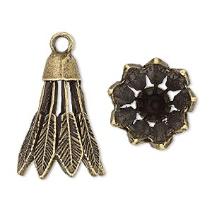 "Cone, Antique Brass-plated ""pewter"" (zinc-based Alloy), 25x18mm Feather, 13mm Inside Diameter. Sold Per Pkg 4"