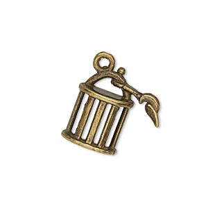 "Charm, Antique Brass-plated ""pewter"" (zinc-based Alloy), 19x18mm Single-sided Cage. Sold Per Pkg 10"
