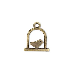 "Charm, Antique Brass-plated ""pewter"" (zinc-based Alloy), 15x14mm Double-sided Bird Swing. Sold Per Pkg 20"