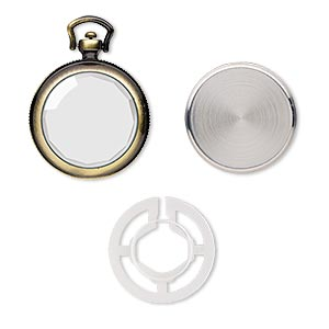 "Watch Body, Glass / Stainless Steel / Antique Brass-plated ""pewter"" (zinc-based Alloy), 54x40mm Round. Sold Per 4-piece Set"