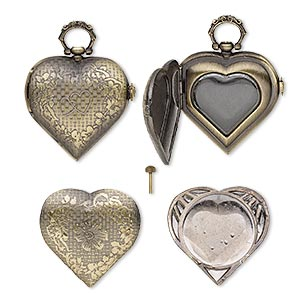 "Watch Body, Glass Antique Brass-plated ""pewter"" (zinc-based Alloy), 53x40mm Heart Floral Design. Sold Per 3-piece Set"