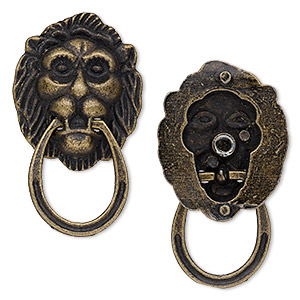 "Embellishment, Antique Brass-plated ""pewter"" (zinc-based Alloy), 48x28mm Single-sided Raised Lion Face Knocker. Sold Per Pkg 2"