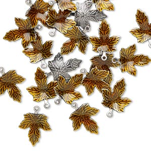 7x3.5mm Leaves 100 Antiqued Copper Plated Brass Double Sided Leaf Drop Charms