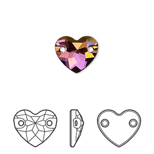 Sew-on Component, Swarovski® Crystals, Crystal Lilac Shadow, Foil Back, 12mm Faceted Heart 2 Holes (3259). Sold Per Pkg 72 3259