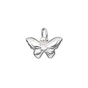 Charm, Sterling Silver-filled, 18x11mm Double-sided Butterfly Closed Jumpring. Sold Individually