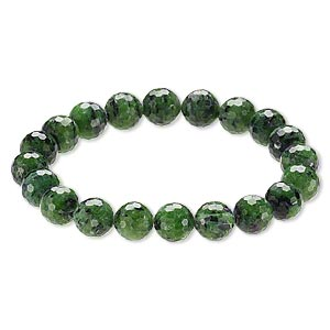 Bracelet, Stretch, Ruby Zoisite (natural), 9-10mm Faceted Round, 8 Inches. Sold Individually A6610CL