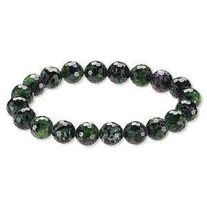 Bracelet, Stretch, Ruby Zoisite (natural), 9-11mm Faceted Round, 8 Inches. Sold Individually A6611CL