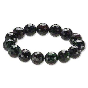 Bracelet, Stretch, Ruby Zoisite (natural), 13-14mm Faceted Round, 9 Inches. Sold Individually A6613CL