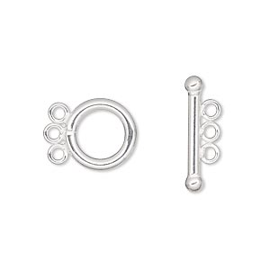 Clasp, 3-strand Toggle, Sterling Silver-filled, 12mm Smooth Round. Sold Individually
