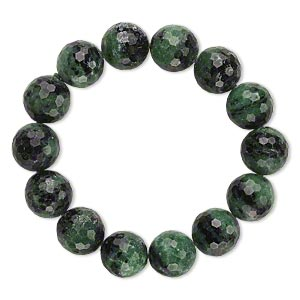 Bracelet, Stretch, Ruby Zoisite (natural), 15-16mm Faceted Round, 7 Inches. Sold Individually A6614CL