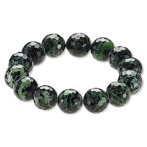 Bracelet, Stretch, Ruby Zoisite (natural), 15-16mm Faceted Round, 9 Inches. Sold Individually A6615CL