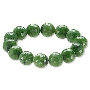 Bracelet, Stretch, Ruby Zoisite (natural), 15-16mm Faceted Round, 9 Inches. Sold Individually A6616CL