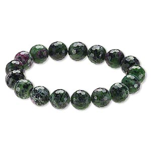 Bracelet, Stretch, Ruby Zoisite (natural), 11-12mm Faceted Round, 8 Inches. Sold Individually A6794CL