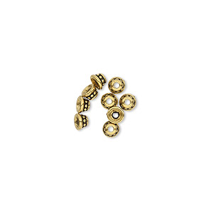 Bead Cap, TierraCast®, Antique Gold-plated Pewter (tin-based Alloy), 3.5x2mm Beaded Round, Fits 2-4mm Bead. Sold Per Pkg 10 94-5599-26