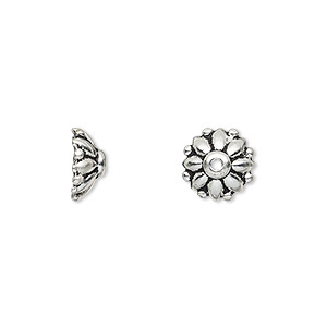 Bead Cap, TierraCast®, Antique Silver-plated Pewter (tin-based Alloy), 10x4mm Round Flower, Fits 9-11mm Bead. Sold Per Pkg 2 94-5569-12