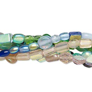 Bead Mix, Glass, Mixed Color AB, 4x4mm-8x5mm Mixed Shape. Sold Per Pkg (6) 16-inch Strands