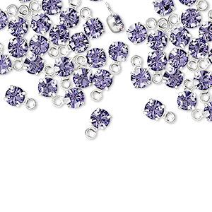 24 Silver Rhodium Plated Brass 4-4.1mm Round Drop Charm Clear Swarovski Crystals