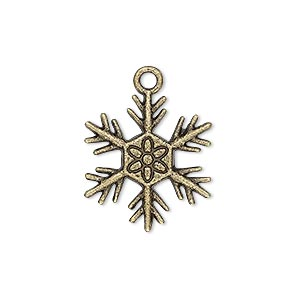 "Charm, Antique Brass-plated ""pewter"" (zinc-based Alloy), 21x19mm Single-sided Snowflake Flower Design. Sold Per Pkg 10"