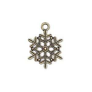"Charm, Antique Brass-plated ""pewter"" (zinc-based Alloy), 19x17mm Double-sided Snowflake. Sold Per Pkg 10"