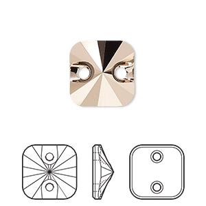 Sew-on Bead, Swarovski® Crystal Rhinestone, Crystal Rose Gold, Foil Back, 12mm Faceted Rivoli Square (3201). Sold Per Pkg 72 3201