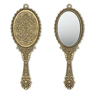 "Focal, Glass Antique Brass-plated ""pewter"" (zinc-based Alloy), 70x26mm Single-sided Hand Mirror. Sold Individually"