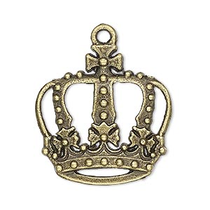 "Charm, Antique Brass-plated ""pewter"" (zinc-based Alloy), 29x29mm Single-sided Crown Cutouts. Sold Per Pkg 4"