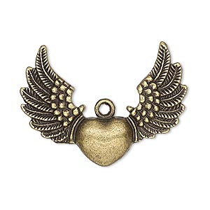 "Focal, Antique Brass-plated ""pewter"" (zinc-based Alloy), 35x26mm Single-sided Heart Wings. Sold Per Pkg 4"