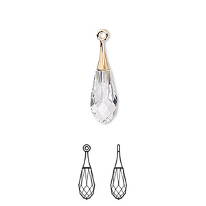 Drop, Swarovski® Crystals Gold-plated Brass, Crystal Passions®, Crystal Clear, 21x6mm Faceted Pure Drop Pendant (6532). Sold Individually 6532