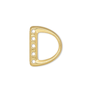 End Bar, TierraCast®, Gold-plated Pewter (tin-based Alloy), 19.5x15.5mm 5-strand D-ring. Sold Individually 94-6174-25