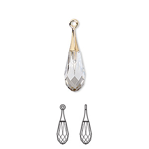 Drop, Swarovski® Crystals Gold-plated Brass, Crystal Passions®, Crystal Silver Shade, 21x6mm Faceted Pure Drop Pendant (6532). Sold Individually 6532