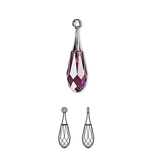 Drop, Swarovski® Crystals Rhodium-plated Brass, Crystal Passions®, Amethyst, 21x6mm Faceted Pure Drop Pendant (6532). Sold Individually 6532