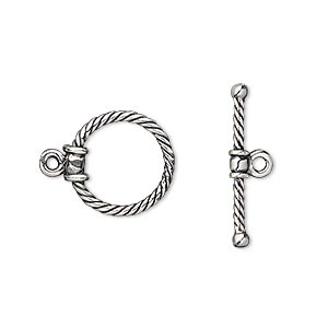 Clasp, Toggle, Antique Silver-plated Brass, 15x14mm Twisted Round. Sold Individually