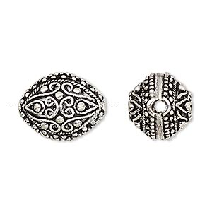 Bead, Antique Silver-plated Brass, 18x14mm Fancy Oval Cutouts Line Dot Design, 2.5mm Hole. Sold Per Pkg 2