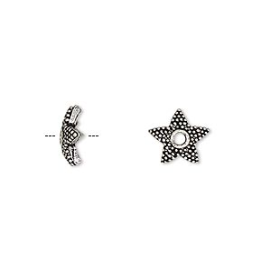 Bead Cap, Antique Silver-plated Brass, 9x3mm Beaded Star, Fits 8-10mm Bead. Sold Per Pkg 10