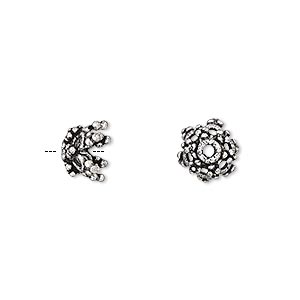 Bead Cap, Antique Silver-plated Brass, 9x7mm Beaded Flower, Fits 8-10mm Bead. Sold Per Pkg 8