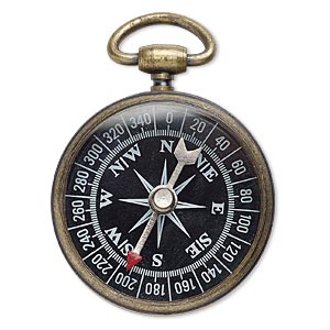 "Focal, Glass Antique Brass-plated Steel ""pewter"" (zinc-based Alloy), Black / White / Red, 53x37mm Compass. Sold Individually"