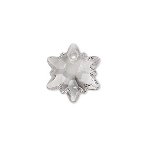 Drop, Swarovski® Crystals, Crystal Passions®, Crystal Clear, 18mm Faceted Edelweiss Pendant (6748). Sold Individually 6748