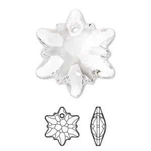 Drop, Swarovski® Crystals, Crystal Passions®, Crystal Clear, 28mm Faceted Edelweiss Pendant (6748). Sold Individually 6748