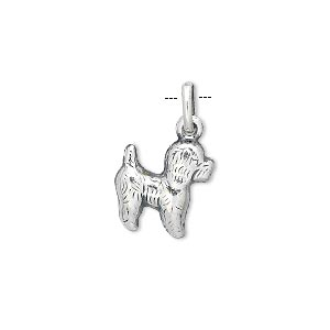 Charm, Sterling Silver, 14x12mm Dog. Sold Individually