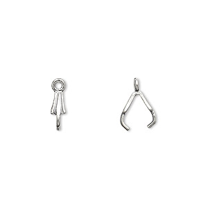 Bail, JBB Findings, Ice-pick, Antiqued Sterling Silver, 8x3mm Fluted, 6mm Grip Length. Sold Per Pkg 10 6329AN
