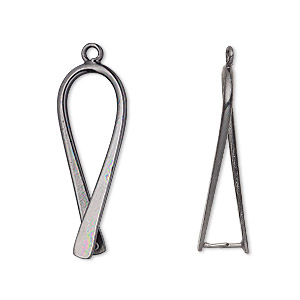 Bail, Ice-pick, Gunmetal-plated Brass, 29x11mm Teardrop, 25mm Grip Length. Sold Per Pkg 2