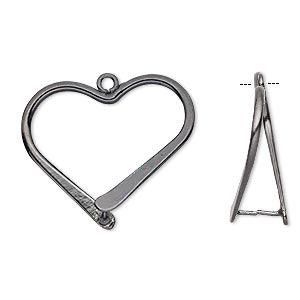 Bail, Ice-pick, Gunmetal-plated Brass, 26x24mm Heart, 15.5mm Grip Length. Sold Per Pkg 10