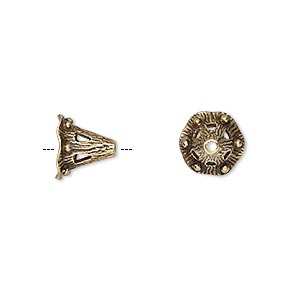 Cone, JBB Findings, Antiqued Brass, 9.5x8.5mm Fancy Beaded, 5mm Inside Diameter. Sold Per Pkg 2 8676ABR