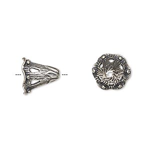 Cone, JBB Findings, Antique Silver-plated Brass, 11.5x11mm Fancy Beaded, 6.5mm Inside Diameter. Sold Per Pkg 2 8675ASP