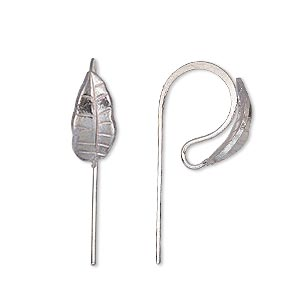 Earwire, Hill Tribes, Silver-plated Brass, 16mm Fishhook Leaf Open Loop, 20 Gauge. Sold Per Pair
