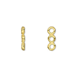 Spacer, TierraCast®, Gold-plated Pewter (tin-based Alloy), 14x2mm 3-strand Rondelle Nugget 2mm Hole, Fits 4mm Bead. Sold Per Pkg 2 94-3162-25