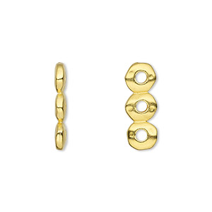 Spacer, TierraCast®, Gold-plated Pewter (tin-based Alloy), 18x2.5mm 3-strand Rondelle Nugget 2mm Hole, Fits 6mm Bead. Sold Per Pkg 2 94-3164-25